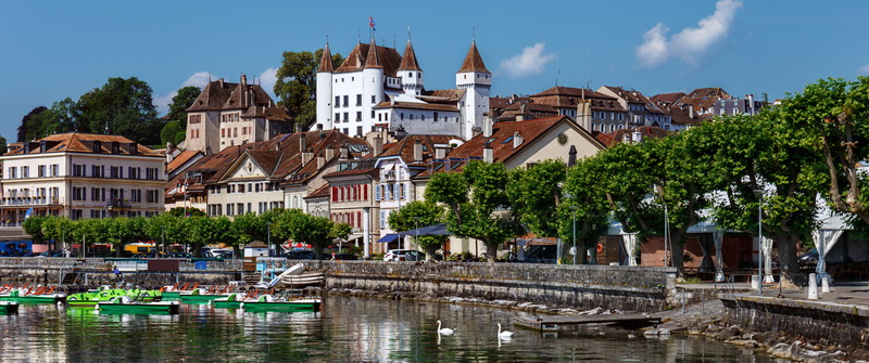 Nyon is a town situated by Lake Geneva