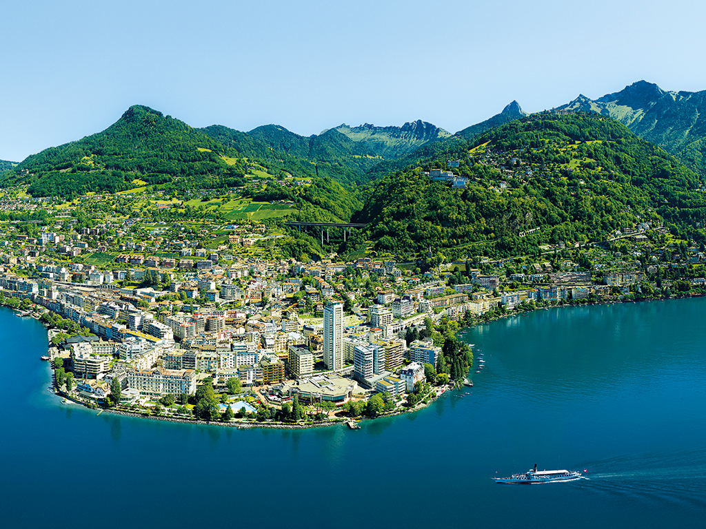 Beautiful ariel view of Montreux riviera