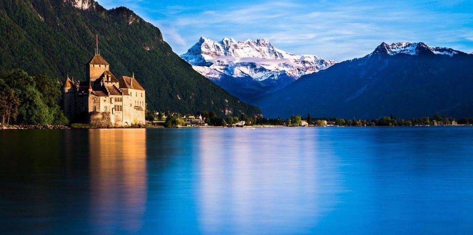 Montreux Chillion castle is situated by shores of lake.